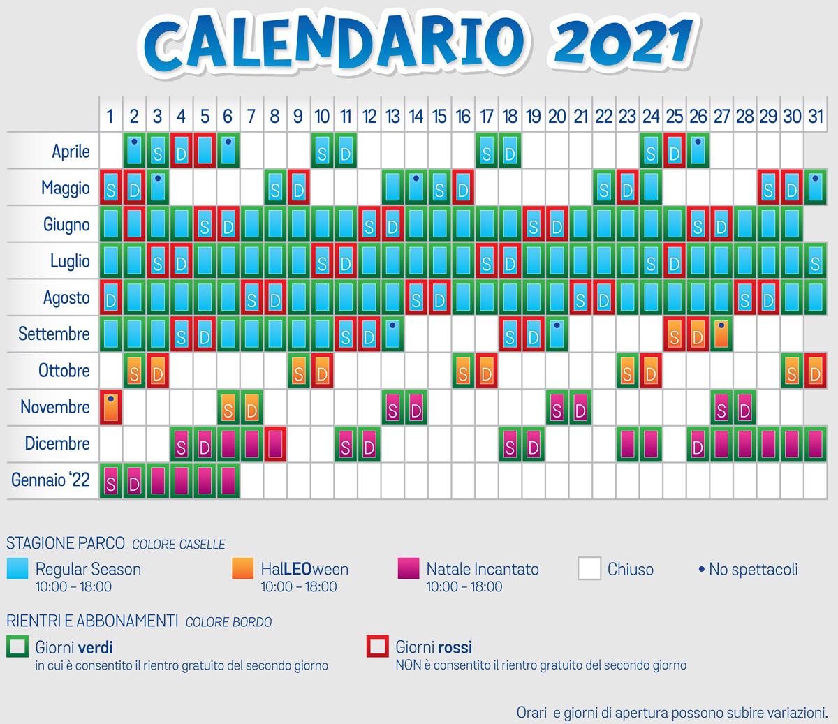 Calendario Leolandia 2021